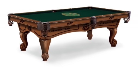 8' pool table shown in Chardonnay finish and optional Colorado st. table cloth